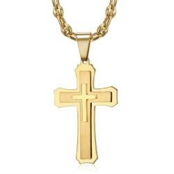 PE0208CAF BOBIJOO Jewelry Men's cross pendant Steel Gold Coffee bean necklace
