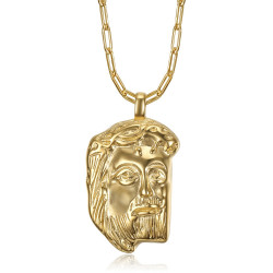 PE0104 BOBIJOO Jewelry Gold Jesus Christ head pendant and paperclip chain