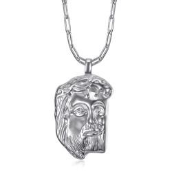 Pendentif Jésus argent tête de christ et chaîne trombone bobijoo