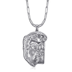 PE0107 BOBIJOO Jewelry Silver Jesus pendant with head of Christ and trombone chain
