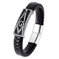 BR0107B BOBIJOO Jewelry Armband Freemason Man Schwarzes Leder Edelstahl
