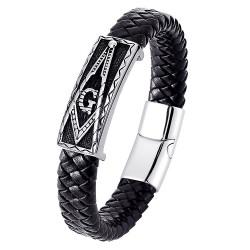 Bracelet Franc-Maçon Homme Cuir noir Acier Inoxydable bobijoo