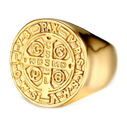 BA0224 BOBIJOO Jewelry Ring Saint-Benoit Man Edelstahl Alles Gold