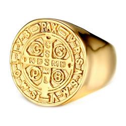 BA0224 BOBIJOO Jewelry Ring Saint-Benoit Man Stainless Steel All Gold