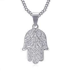 PEF0055S BOBIJOO Jewelry Hand of fatma necklace Stainless steel with chain 55cm