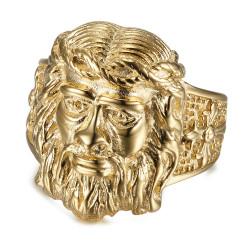Ring Signet ring Head of Jesus Steel Gold Man Cross IM#19199