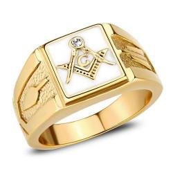 BA0393 BOBIJOO Jewelry Square freemason ring man steel gold and white email