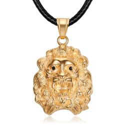 Collier tête de lion Femme Pendentif acier or rose yeux noirs bobijoo