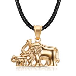 PEF0068 BOBIJOO Jewelry Elephant necklace Woman Rose gold steel pendant Family
