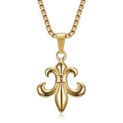 PE0130 BOBIJOO Jewelry Fleur-de-Lys Pendant, Steel Gold and its Venetian Chain