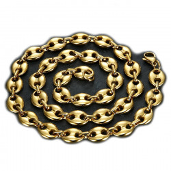 COH0015 BOBIJOO Jewelry Chain necklace Coffee bean Gold-Plated Steel