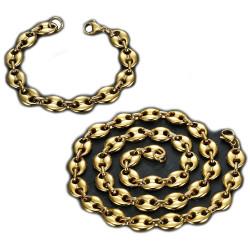 COH0017 BOBIJOO Jewelry Set Necklace + Bracelet Coffee Bean Gold Plated Steel