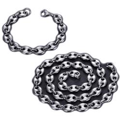 COH0018 BOBIJOO Jewelry Set Necklace + Bracelet Coffee Bean Silver Steel