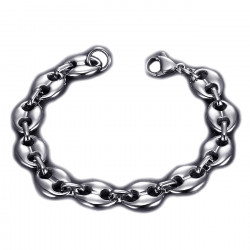 BR0268 BOBIJOO Jewelry Coffee bean bracelet Steel Silver: 4 sizes to choose from