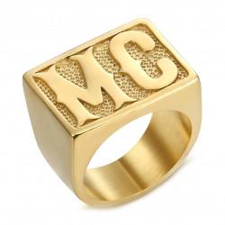 BA0222 BOBIJOO Jewelry Ring Biker MC Signet Ring Man Rectangle Steel Gold