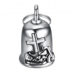 MOT0038 BOBIJOO Jewelry Guardian bell Latin cross Bécane 316L steel