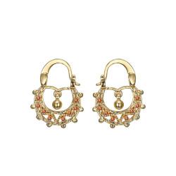 BOF0117 BOBIJOO JEWELRY Savoyardes Baby 15mm Fire Orange Hoop Earrings