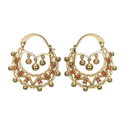 BOF0119 BOBIJOO JEWELRY Savoyardes Woman Adult 35mm Fire Orange Hoop Earrings