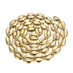 COH0038 BOBIJOO Jewelry Coffee bean necklace man XXL 13mm 70cm Steel Gold