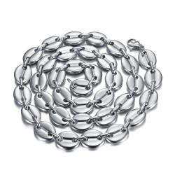 COH0038S BOBIJOO Jewelry Coffee bean necklace man XXL 13mm 70cm Steel Silver
