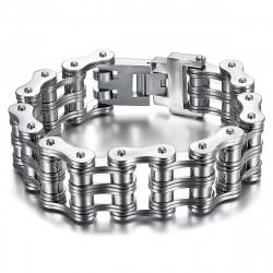 BR0244 BOBIJOO Jewelry Large Motorcycle Chain Bracelet 316 Steel Silver Chrome