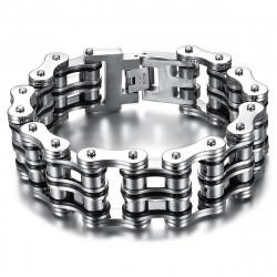 BR0245 BOBIJOO Jewelry Large Motorcycle Chain Bracelet Steel Silver Black Chrome