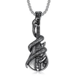PE0072 BOBIJOO Jewelry Pendant Electric Guitar Rock Snake Biker