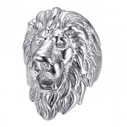 bague tête de lion : Argent et Yeux diamants, énorme bijou bobijoo