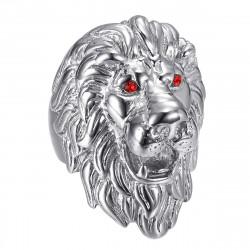 BA0341S BOBIJOO Jewelry Lion head ring: Silver and red ruby eyes, huge jewel
