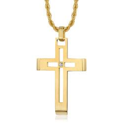 Collier croix homme Acier inoxydable Or Diamant bobijoo