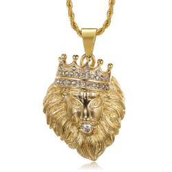 PE0139 BOBIJOO Jewelry Lion head pendant crowned with gold or silver diamonds