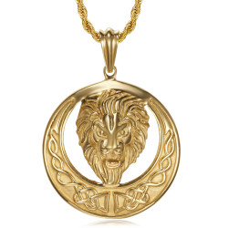 PE0140 BOBIJOO Jewelry Lion necklace, imposing sun and radiant head, Steel and Gold