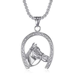 Pendant Horseshoe Elvis Gypsy Steel Silver + Chain IM#20077
