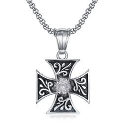 PE0231 BOBIJOO Jewelry Pendant Templar Cross Pattée Diamond Knight