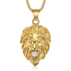 Collier tête de lion Acier Or 3 strass yeux et bouche bobijoo