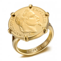 Napoleon Scratched Ring Set Coin 20 Francs Louis Gold Plated IM#20119