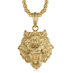 PE0327 BOBIJOO Jewelry Wolf head necklace Stainless steel and Gold