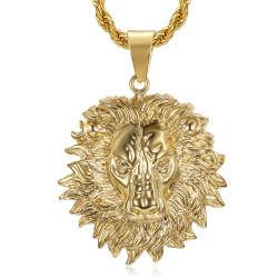 Collier tête de lion Crinière flamboyante Acier Or bobijoo