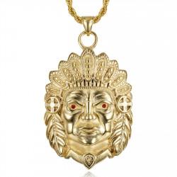 PE0330 BOBIJOO Jewelry Big Indian head necklace Ruby red eyes Steel Gold