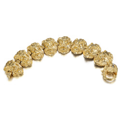 BR0286 BOBIJOO Jewelry Lion Bracelet Man 150gr Head Steel and Gold