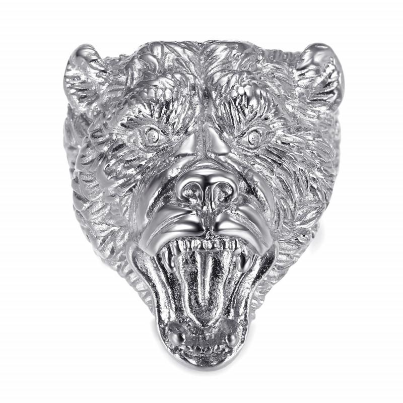 Bague ours Chevalière homme Acier Diamants bobijoo