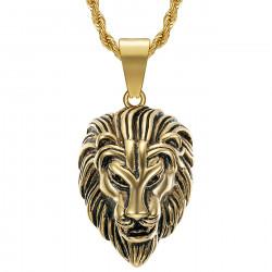 PE0331 BOBIJOO Jewelry Men's lion head necklace Steel Gold Vintage