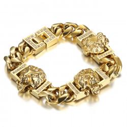 Bracelet lion Gourmette luxe 3 têtes Or Diamants bobijoo