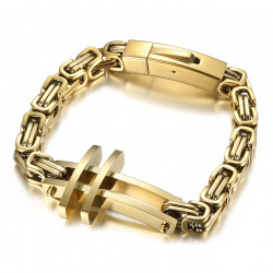 BR0290 BOBIJOO Jewelry Men's cross bracelet The Byzantine steel gold