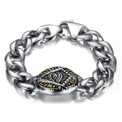 Bracelet franc maçon oeil voyant Acier 22cm bobijoo