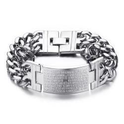 GO0006 BOBIJOO Jewelry Our father men's cross bracelet Large curb chain