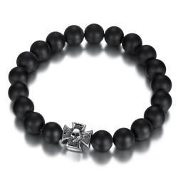 Bracelet boule 10mm Onyx noir Croix de Malte acier bobijoo
