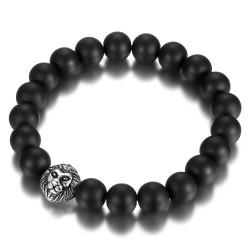 BR0038 BOBIJOO Jewelry Bracelet Stone Black Onyx Matt 10mm Head of Lion Steel