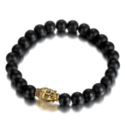 Bracelet boule 8mm Onyx noir Bouddha acier et or bobijoo