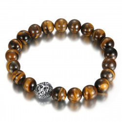 BR0045 BOBIJOO Jewelry Bracelet Stone Tiger Eye Lion Head Silver Color
